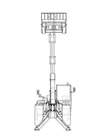 Forklift concept. 3d illustration outline