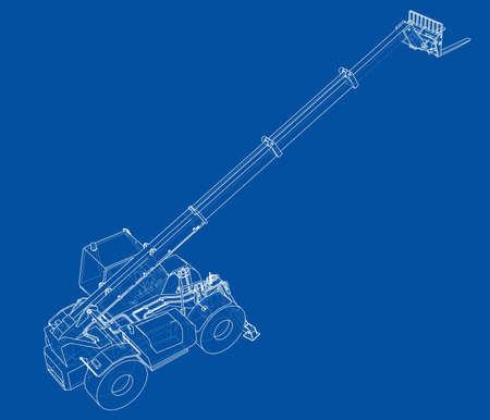 Forklift concept. 3d illustration