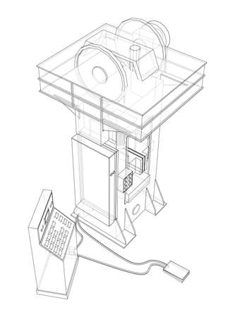 Friction screw press concept outline. Vector