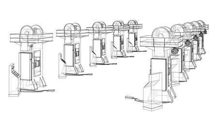 Friction screw press concept outline. Vector Vektorgrafik