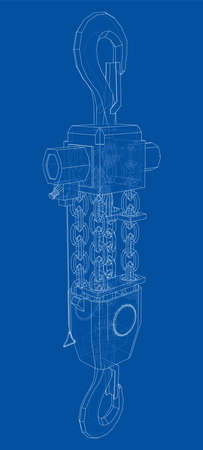 Pneumatic Wire Rope Winch concept outline. Vector Illustration