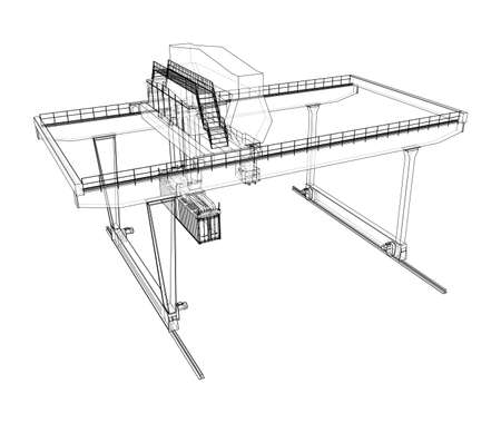 Rail-mounted gantry container crane outline