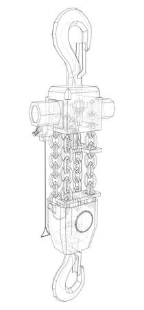 Pneumatic Wire Rope Winch concept outline. Vector 일러스트