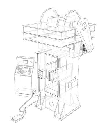 Friction screw press concept outline. Vector rendering of 3d. Wire-frame style. The layers of visible and invisible lines are separated