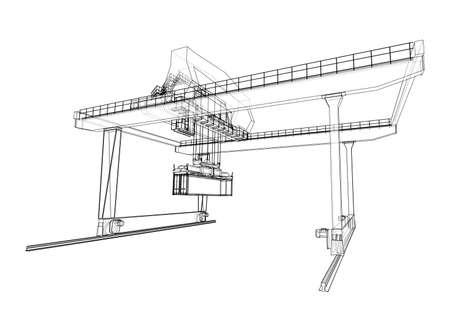 Rail-mounted gantry container crane outline Ilustracje wektorowe