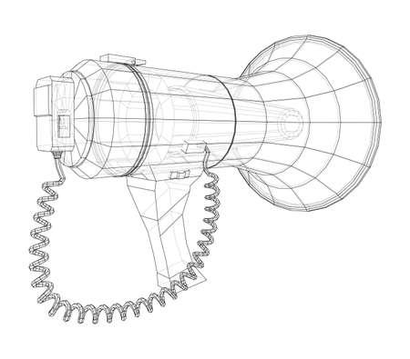 Megaphone concept outline. Vector