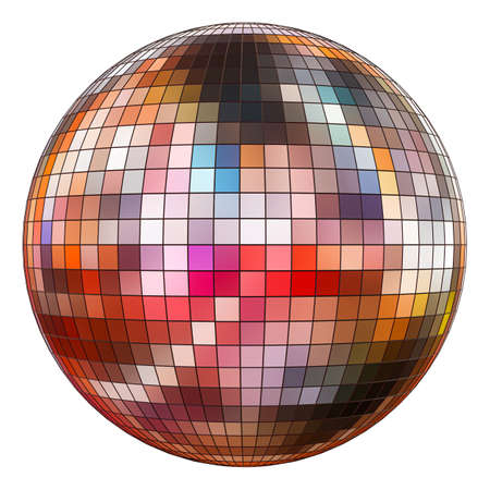 Mirror disco ball on a white background