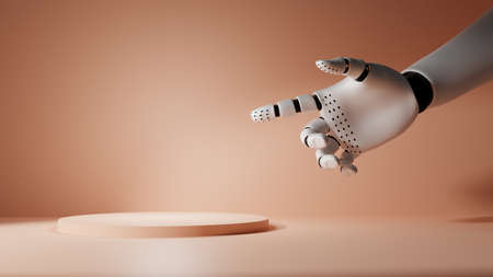 Robotic hand points to empty podium or stand. Pastel background