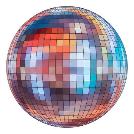 Mirror disco ball on  white