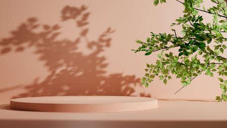 Pastel pedestal podium with tree leaves Standard-Bild