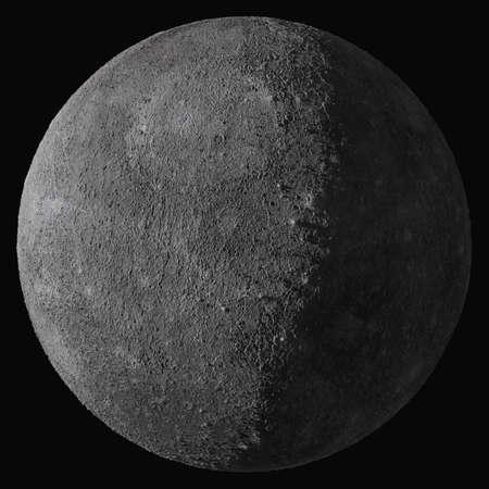 Planet Mercury. Isolated on black background