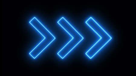 Blue neon arrows on a black background 免版税图像
