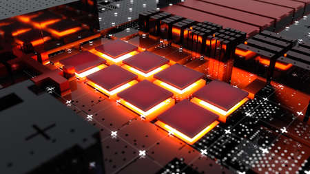 Abstract Central Computer Processors Concept. 3D illustration