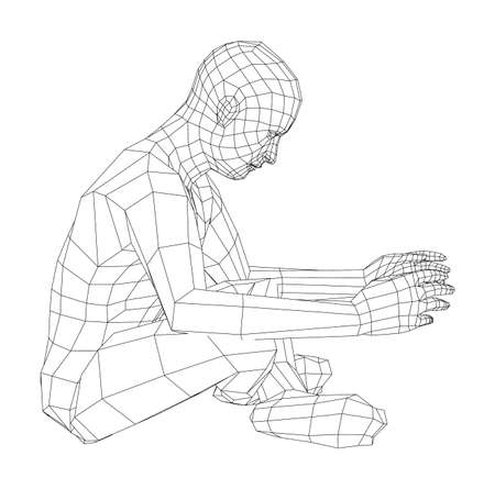 Wireframe man relaxing in lotus position. Vector Ilustrace