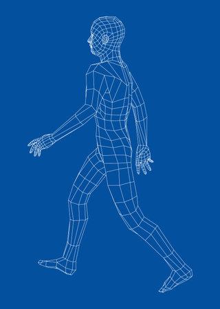 Wireframe walking man. Vector
