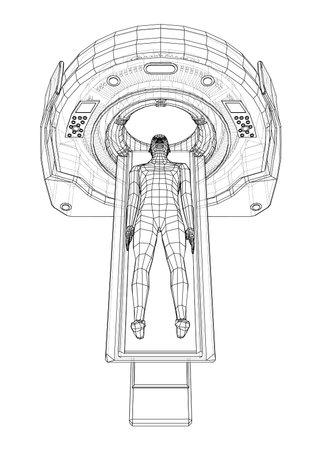 MRI machine scanning patient inside. Vector Ilustración de vector