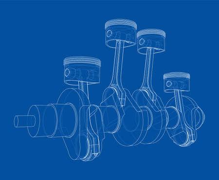 Engine crankshaft with pistons outline. Vector
