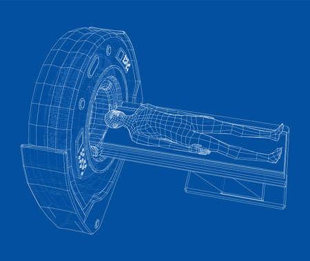 MRI machine scanning patient inside. Vector