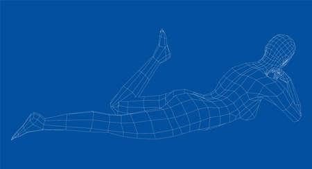 Wireframe girl lies in a pose. Vector Vecteurs