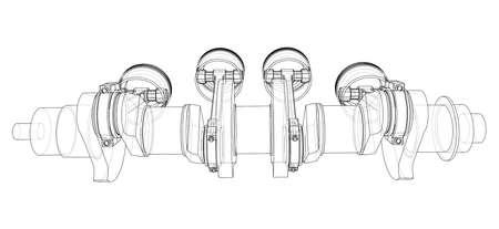Engine crankshaft with pistons outline. Vector Ilustración de vector
