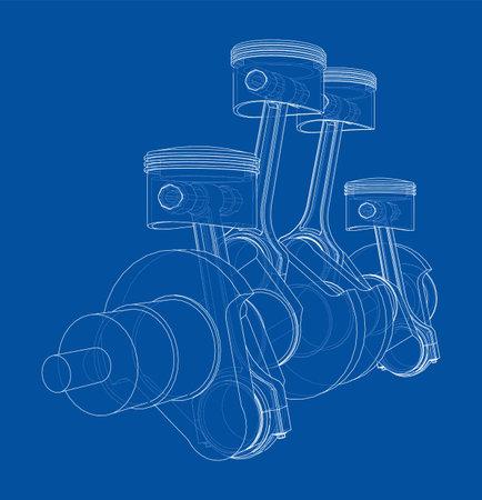 Engine crankshaft with pistons outline. Vector Vecteurs