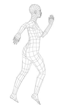 Wireframe ballerina in dance pose. Vector