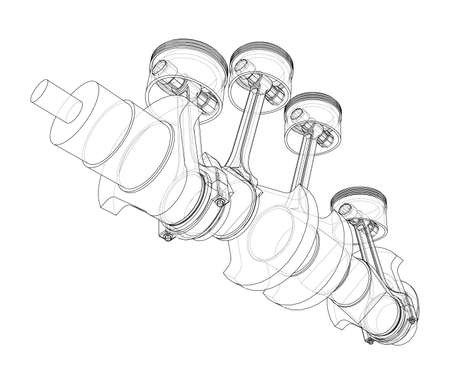 Engine crankshaft with pistons outline. Vector
