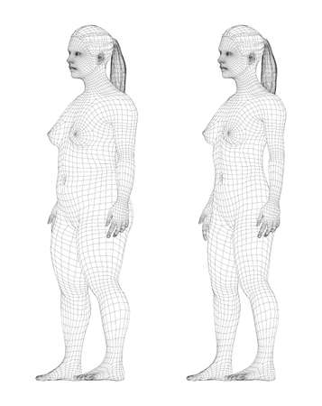 Fat and slim woman, before and after weight loss Ilustração