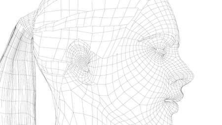 Wireframe portrait of a young beautiful girl