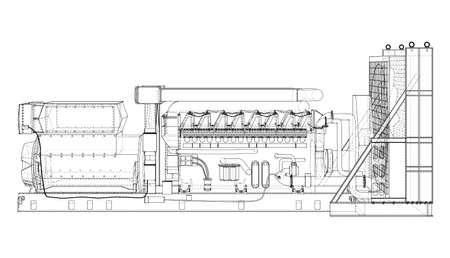 Large industrial diesel generator. Vector Vector Illustratie