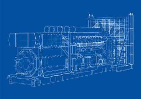 Large industrial diesel generator. Vector