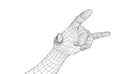 Hand in rock n roll sign. Stock Illustratie