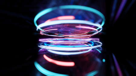 3d render, glowing lines, reflection, abstract design Stockfoto
