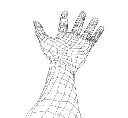 Open palm hand gesture of male hand. Vector