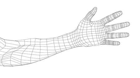 Hand. Vector rendering of 3d
