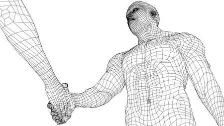 Two men shaking hands. Vector