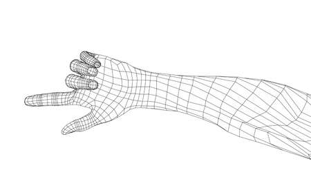 Human hand point with finger. Vector