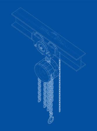 A Hoist on the beam. Vector Vektorgrafik