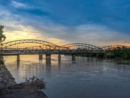 A beautiful sunset spot shot of Buck ONeil Bridge in Kansas City, Kansas