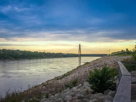 A beautiful sunset spot shot of Christopher S. Bond Bridge in Kansas City, Kansas
