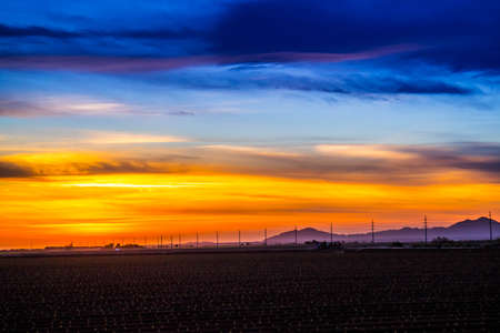 Dramatic vibrant sunset scenery in Yuma, Arizona