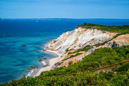 The famous Gay Head Cliffs in Cape Cod Martha's Vineyard, Massachusetts 免版税图像