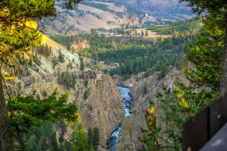 The famous Grand Canyon of the Yellowstone in Wyoming Stock Photo