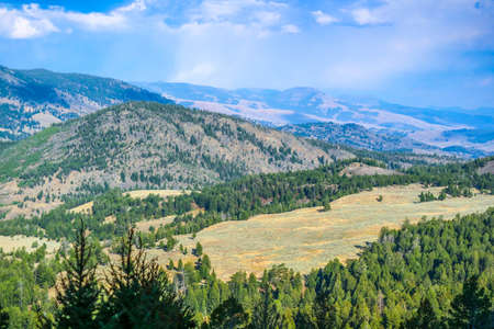 A beautiful overlooking view of nature in Yellowstone National Park, Wyoming Stock Photo