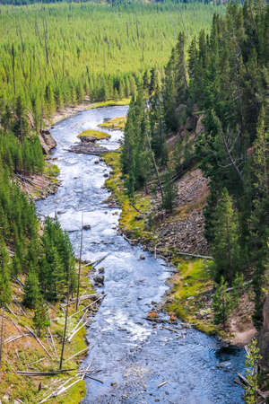 The famous and beautiful Yellowstone River in Wyoming Stock Photo