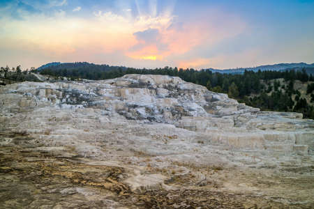 The Mammoth Hot Springs Area in Yellowstone National Park, Wyoming
