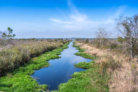 A narrow stream of water in Gulf Shores, Alabama Stock Photo