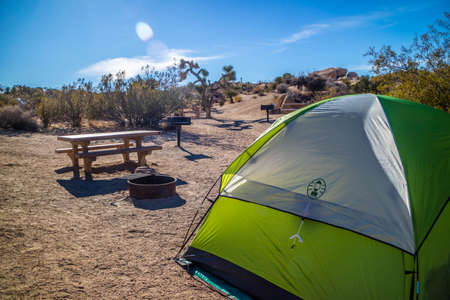 Joshua Tree National Park, CA, USA - December 15, 2017: Camping around the park while enjoying the epic scenery