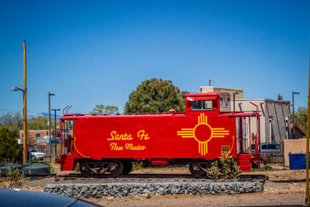 Santa Fe, NM, USA - April 14, 2018: An old fashioned scenic railroad car Publikacyjne