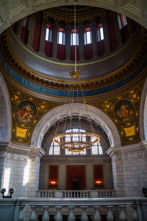 Providence, RI, August 29, 2018: The large hallways of the inside building of Rhode Island State House